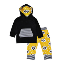 Winter Newborn Baby Clothing Set Cartoon Animal Hooded T Shirt Stripe Pants 2pcs Kids Clothes Cute