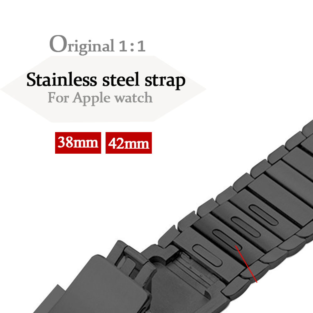 все цены на 316L stainless steel watchband For Apple Watch 3/2/1 Link bracelet band strap 38mm/42mm removeable belt metal buckle for iwatch