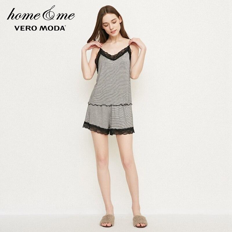 Vero moda feminino primavera renda listra lazer camis tops e shorts   318103501