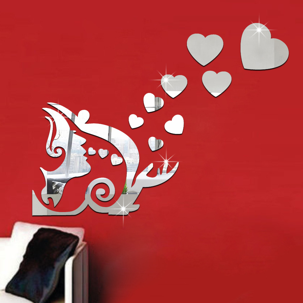 Funlife love mirror wall stickers 3d creative green for Miroir stickers