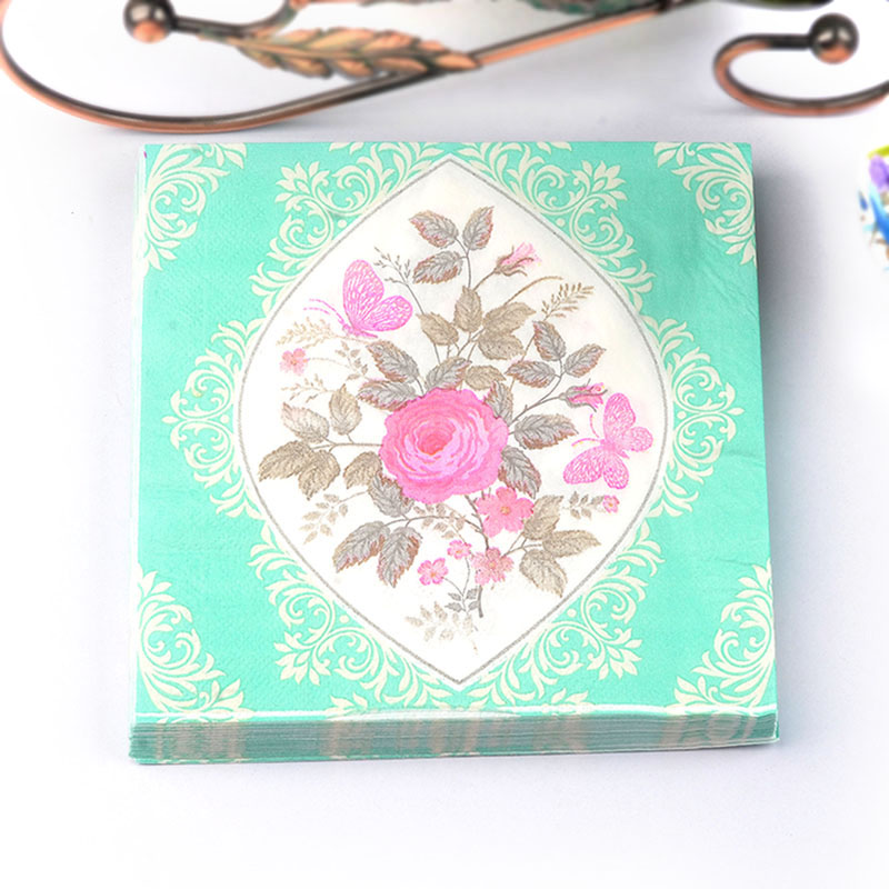 2017 New Green flower Paper Napkin Festive & Party Cafe Tissue Napkins Decoupage Decoration Paper 33cm*33cm 20pcs/pack/lot