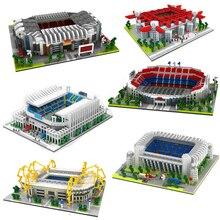 цена на 2020 Football Old Trafford Camp Nou Bernabeu San Sir Stadium Real Madrid Barcelona Club Diamond Building Blocks Toy Gift