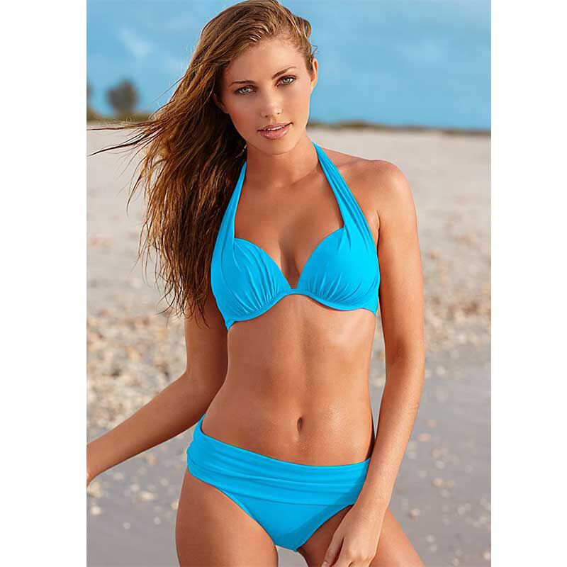 bb00d55ab8 KayVis 2019 Sexy Bikinis Women Swimsuit Push Up Bikini Set Beach Wear Retro  Vintage Bathing Suits Halter Top Plus Size Swimwear -in Bikinis Set from  Sports ...