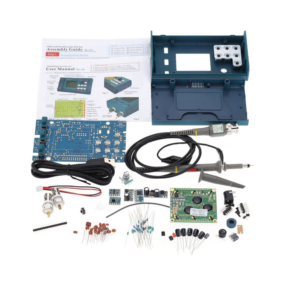 New Digital DSO068 USB Oscilloscope/Frequency Meter DIY Kit 20MSa/s 3MHz new 1pcs dso138 2 4 tft digital oscilloscope kit diy parts 1msps with probe