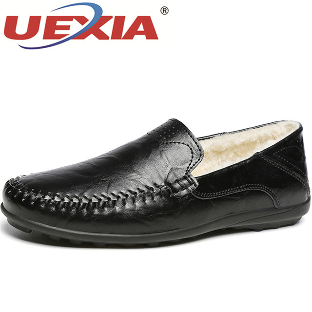 89a0bac4e24 UEXIA Casual Loafers Shoes Young Black Men Walking Driving Shoes with Fur  Plush Flats Shoes Male Winter Luxury Footwear Big Size