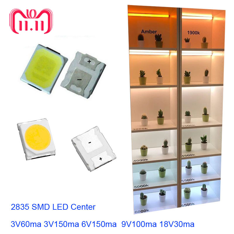 100pcs SMD LED 2835 White Chip 1W 3V 6V 9V 18V 36V  Ultra Bright SMT 1W Watt Surface Mount PCB LED Light Emitting Diode Lamp