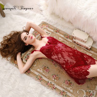 Super Sexy Sleep Dress Hollow Out Transparent Lce V Neck Nighties For Women Free Size Night