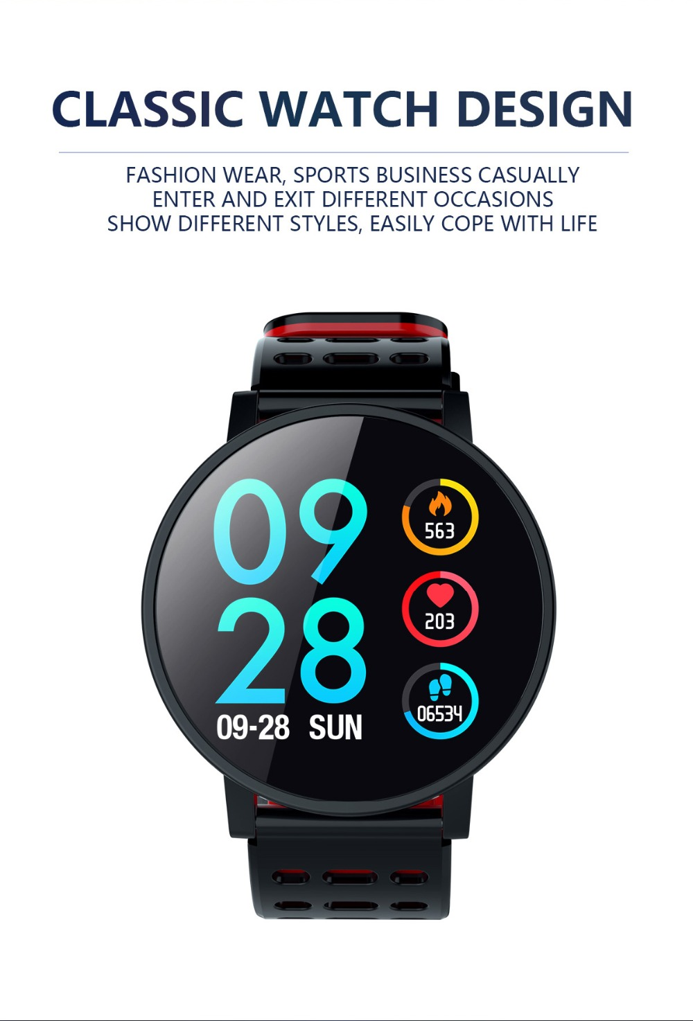Q9 Smartwatch IP67 Waterproof Wearable Device Bluetooth Pedometer Heart Rate Monitor Color Display Smart Watch For AndroidIOS (3)