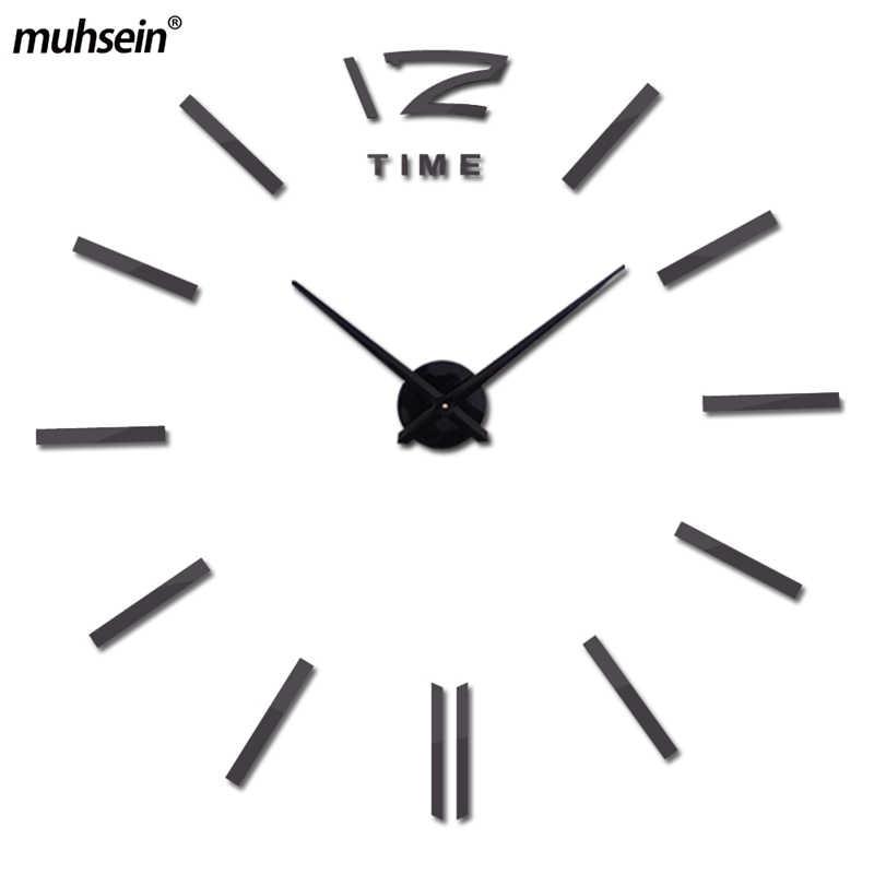 2019 muhse настенные часы Креативный Современный Стикер Уникальный Черный Большой DIY 3D цифровое зеркало искусство настенные часы украшение для дома Бесплатная доставка