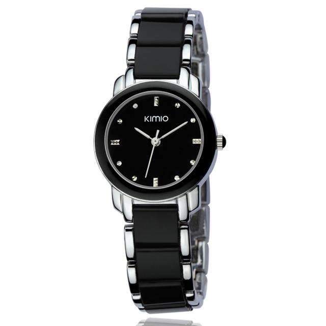 KIMIO Brand Ladies Dress Quartz Watches Relogio Feminino Gorgeous Round Dial Analog Imitation Ceramic Wristwatch For Women