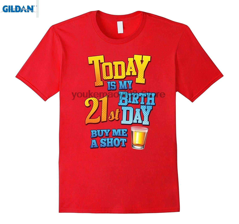 Возьмите 100% хлопок o-образным вырезом Пользовательские печатных футболка 21st день рождения смешные футболки сегодня мой день рождения купит...