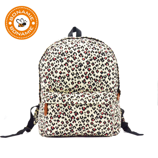BONAMIE Women Canvas Leopard Backpack Girls Fashion School Bag Printing  Backpack College Student Big Casual Travel