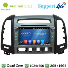 Quad Core 7″ 1024*600 2Din Android 5.1.1 Car DVD Player Radio BT FM DAB 3G/4G WIFI GPS Map For Hyundai SANTA FE 4 Hole 2006-2011