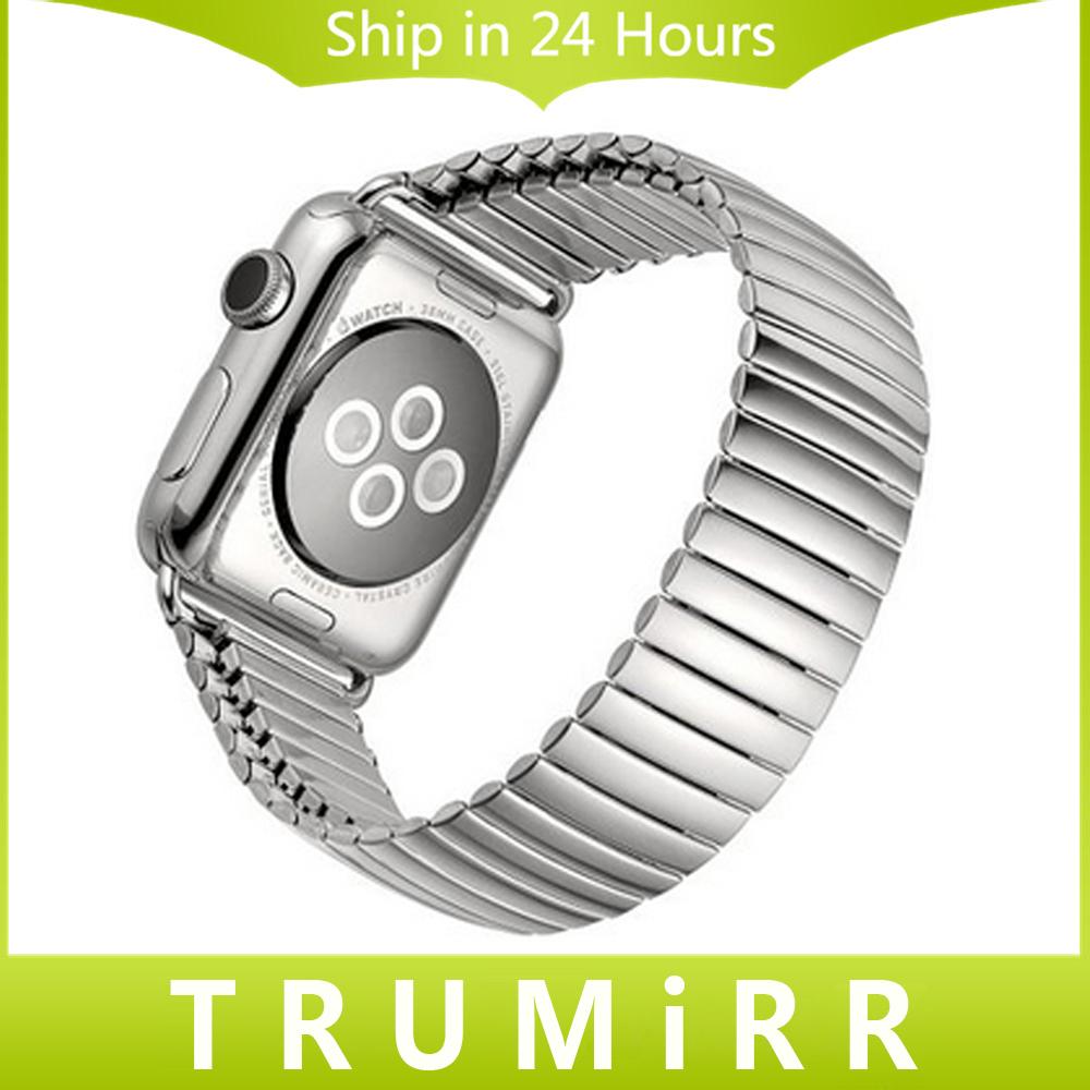Prix pour 22mm 24mm Bracelet En Acier Inoxydable pour iWatch Apple Watch 38mm 42mm Bande Élastique Bracelet Bracelet avec Lien Adaptateur argent