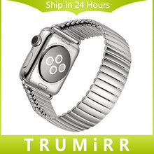 22mm 24mm correa de acero inoxidable para iwatch apple watch 38mm 42mm elastic band pulsera de la correa con adaptador de enlace plata