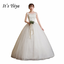 Free shipping New 2017 Summer O-neck Lace White Wedding Dresses Plus size Princess Cheap Bride Frocks Vestidos De Novia HS246