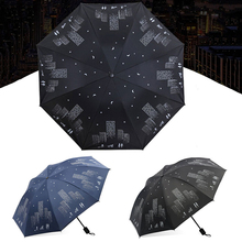 Anti-UV Waterproof Umbrellas Women Black Coating Three Folding Sunscreen Portable Men Sunny And Rain Dual-use Mirage Umbrella