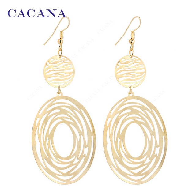 CACANA Dangle Long Earrings With A Big Oval And A Small Roung For Women Bijouter