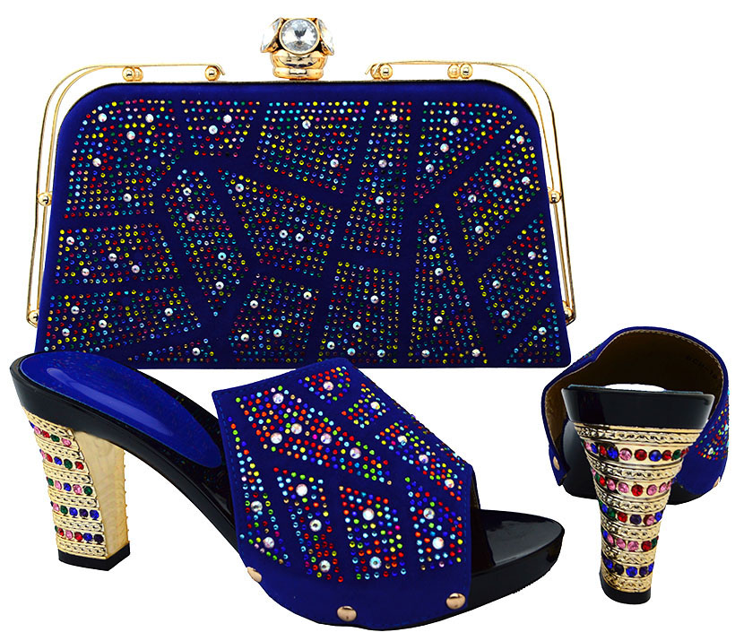 New Arrival Royal Blue Shoes and Bag To Match Italian African Wedding Shoe and Bag Set Women Shoe and Bag  BCH-19 fashion italy design italian matching shoe and bag set african wedding shoe and bag sets women shoe and bag to match tmm1 41