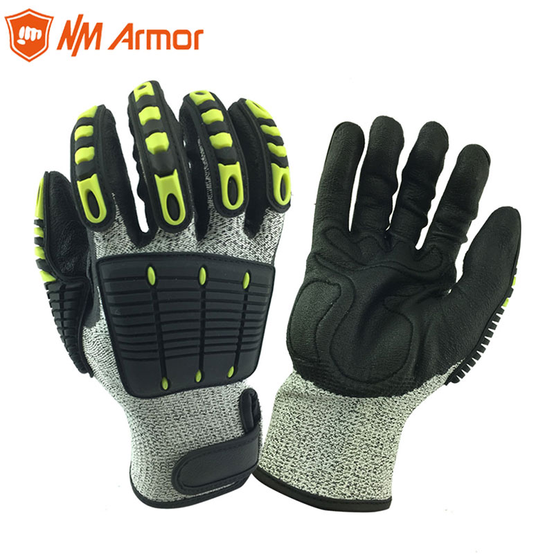 ANSI A4 Cut Resistant Anti Vibration Mechanic Safety Protective Work Gloves For Construction Oil Proof Industry