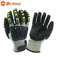 ANSI A4 odporne na przecięcie antywibracyjne mechaniczne ochronne rękawice robocze dla przemysłu budowlanego olejoodporny