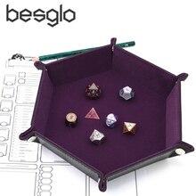Игральные кости из искусственной кожи складной шестиугольник лоток ж/фиолетовый бархат для RPG, DnD, другие игры в кости и хранения