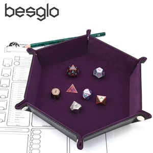 Dice PU Leather Folding Hexagon Tray w/Purple Velvet for RPG, DnD, Other Dice Games and Storage(China)