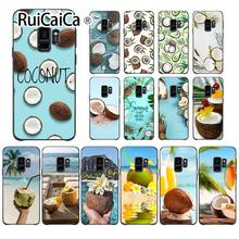 Ruicaica Fruit Coconut In Blue Sky Summe Lovely Design Phone Accessories Case For GALAXY s5 s6 edge edge plus s7 edge s8 plus s9(China)