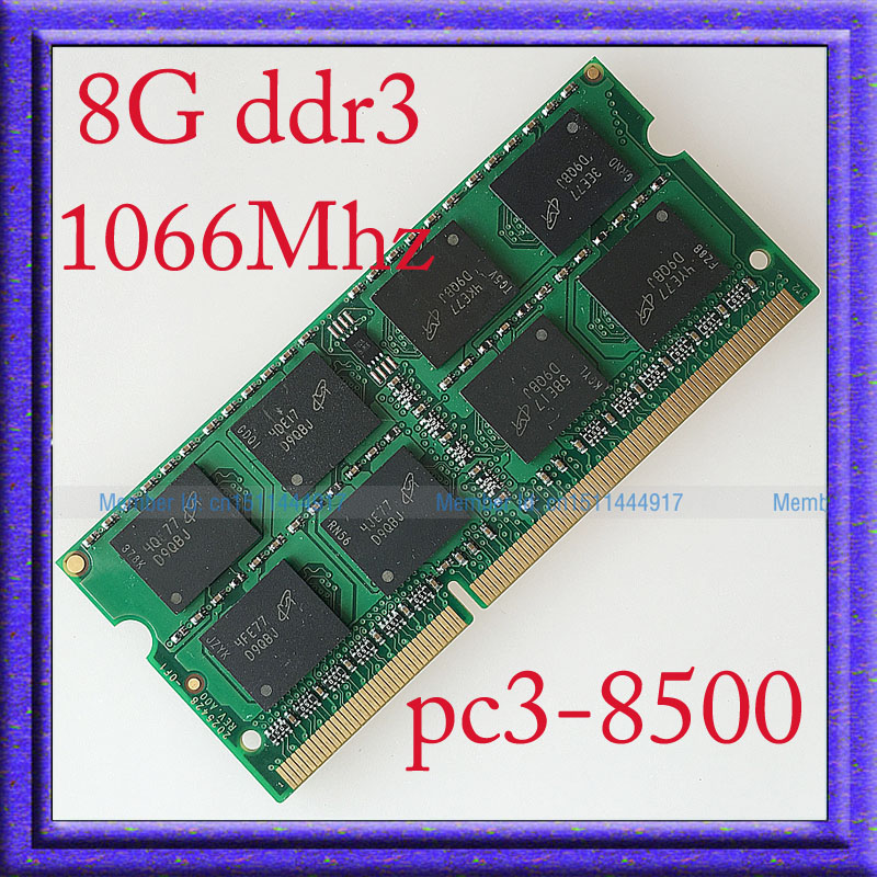 ФОТО Fully Test 8GB PC3-8500 DDR3-1066 DDR3 1066MHZ 8g Laptop Memory 204PIN sodimm 1066 204-pin Notebook RAM Upgrade Free Shipping