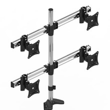 Dsupport Aluminum Alloy Desktop Clamping 13-27 LCD LED 4Screen Monitor Holder Full Motion Retractable Display Mount Rack Stand