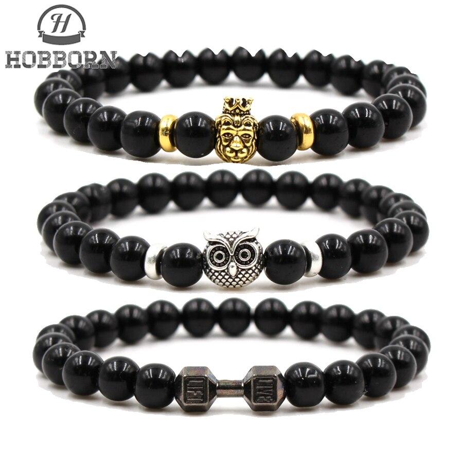 HOBBORN Trendy Black Natural Stone Bracelet Women Men Buddha Head Owl Skull Leopard Dumbbell Charm Beads Bracelets Jewelry Gift