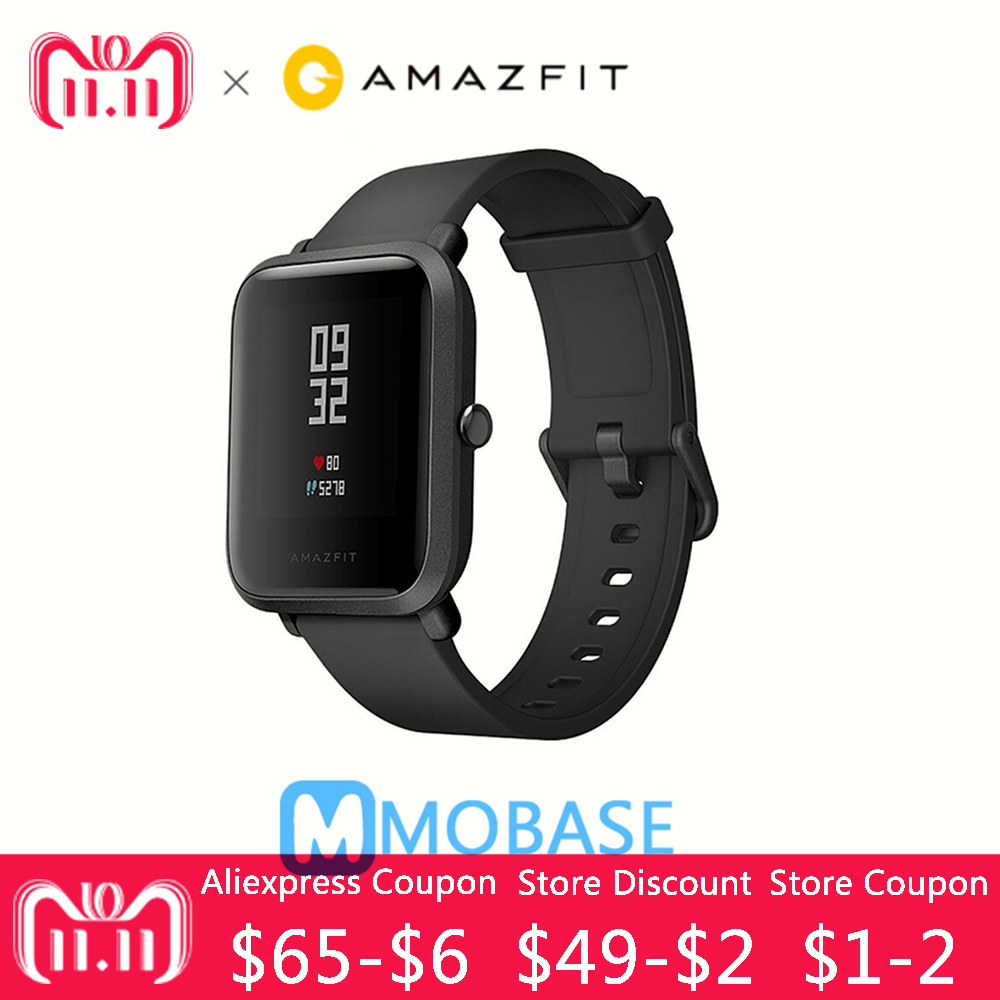 IN Stock English Version Original Huami Amazfit Bip BIT PACE Lite Smart Watch Mi Fit Reflection Smartwatch Waterproof for Xiaomi sikai universal 20mm stainless steel watch straps bracelets for huami bip bit pace lite youth watch for xiaomi amazfit bit band