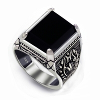 Eulonvan 925 Sterling Silver Jewelry Black Ring Men Black Cubic Zirconia S 3810 Sz 7 8