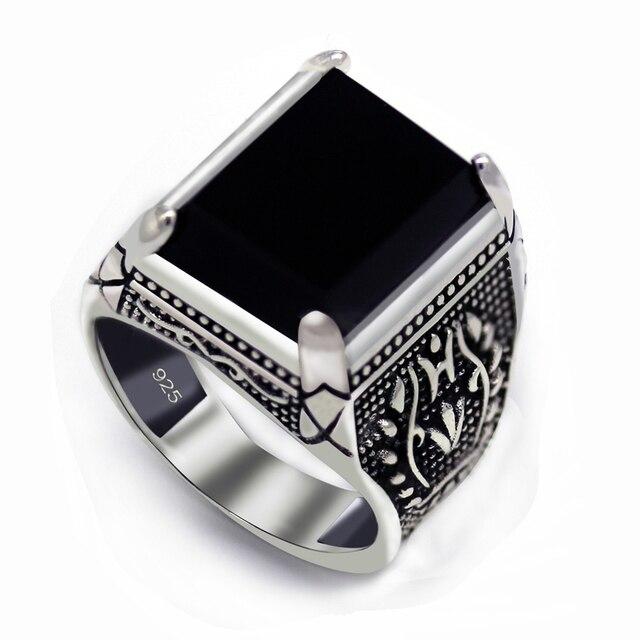 Eulonvan Luxe Vintage 925 Sterling Zilver Zwart Ringen Sieraden & Accessoires Mannen Dropshipping Zirconia S 3810 Size 6   13