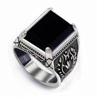 Eulonvan 925 ayar Gümüş Takı siyah yüzük erkekler Taşlı vintage moda hediyeler Gotik muhteşem S-3810 boyutu 7 8 9 10 11