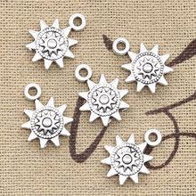 30pcs Charms Sun 17x12mm Handmade Craft Pendant Making fit,Vintage Tibetan Bronze Silver Color ,DIY For Bracelet Necklace