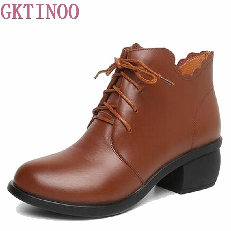 Women Ankle Boots Genuine Full Grain Leather Lace Up High Heel Round Toe Supper Quality Woman New Fashion Shoes T6471 popular high quality full grain leather ankle boots size 40 41 42 43 44 sequined decoration zipper design round toe boots