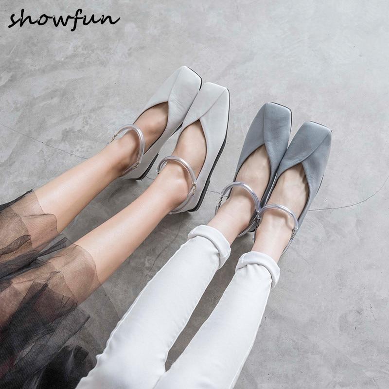 Women s genuine leather ankle strap ballet flats brand designer square toe leisure ballerians spring new