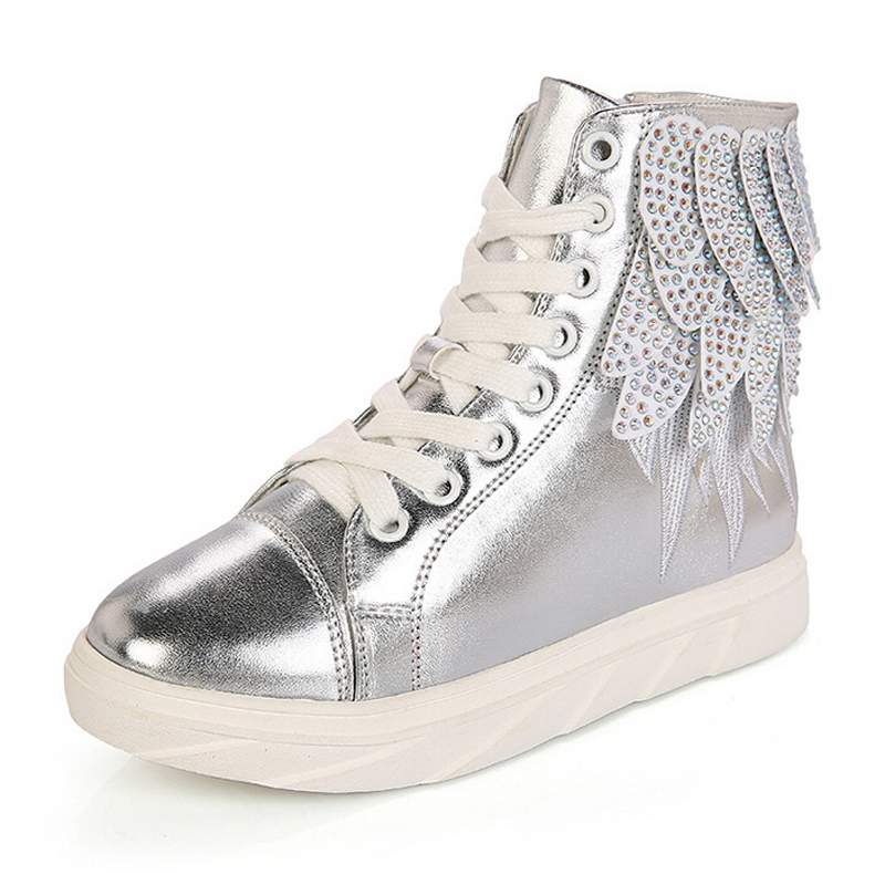 High quality kids shoes girls shoes fashion wings pu leather kids sneakers girls high top casual sneakers kids shoes for girl