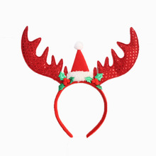 Baby Girl New Year Christmas Antlers Head Buckle Christmas Sequins Large Antlers Christmas Decorations Party Supplies