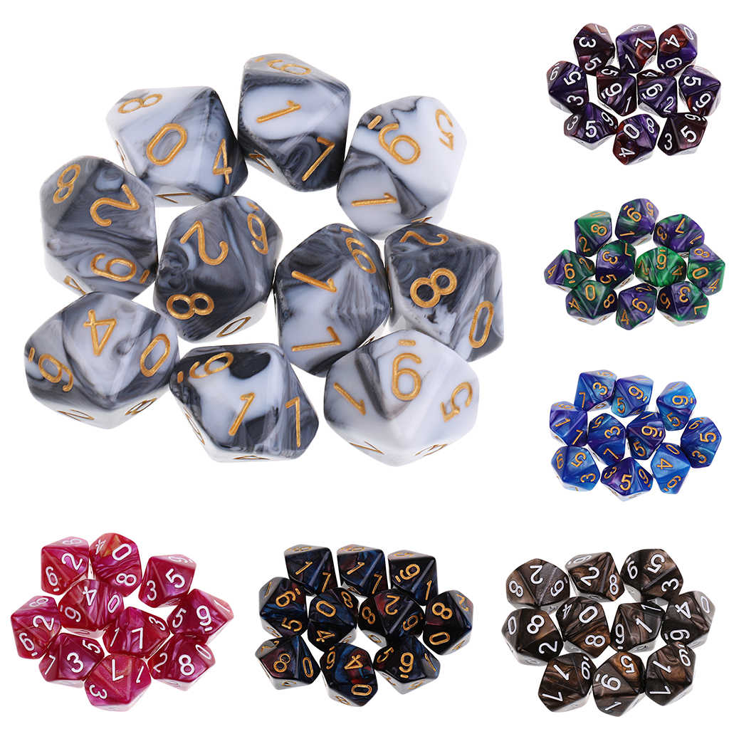 10Pcs 10 Zijdige Dobbelstenen D10 Polyhedral Dnd Dobbelstenen Voor Rpg Mtg Dungeons And Dragons Party Tafel Board Games