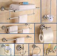 Free Shipping Brass And Zinc Alloy Chrome And Gold Bathroom Accessories Set Robe Hook Paper Holder