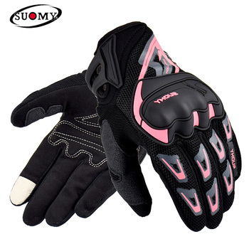 Suomy Summer Breathable Motorcycle Gloves Full Finger Motorbike Equipment Women Men Pink ATV Rider Sports Protect Glove Guantes