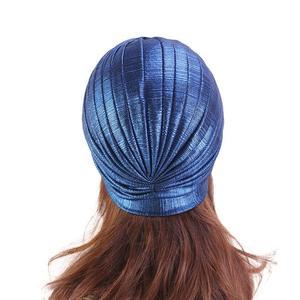 Image 5 - Women Indian Turban Hat Head Wrap Cover Hair Loss Cancer Chemo Hat Pleated Cap Bonnet Muslim Beanies Skullies Arab Headscarf Cap