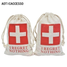 11x16cm Hangover Kit Wedding Party Favor Bags 10pcs Gift Drawstring Cotton Bag Bachelorette Supplies I Regret Nothing