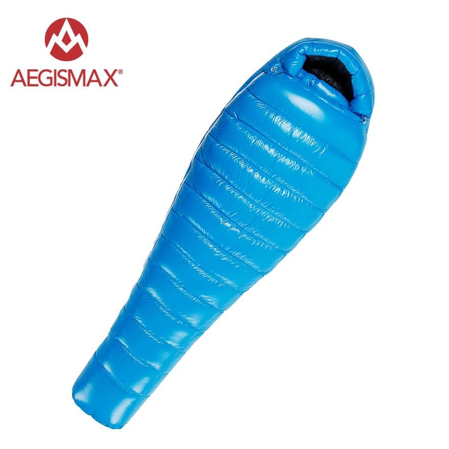 Aeismax 95% Ganso Branco Para Baixo Saco de Dormir Múmia Inverno Splicing Frio Defletor Design Ultraleve Acampamento FP800 G1-G5