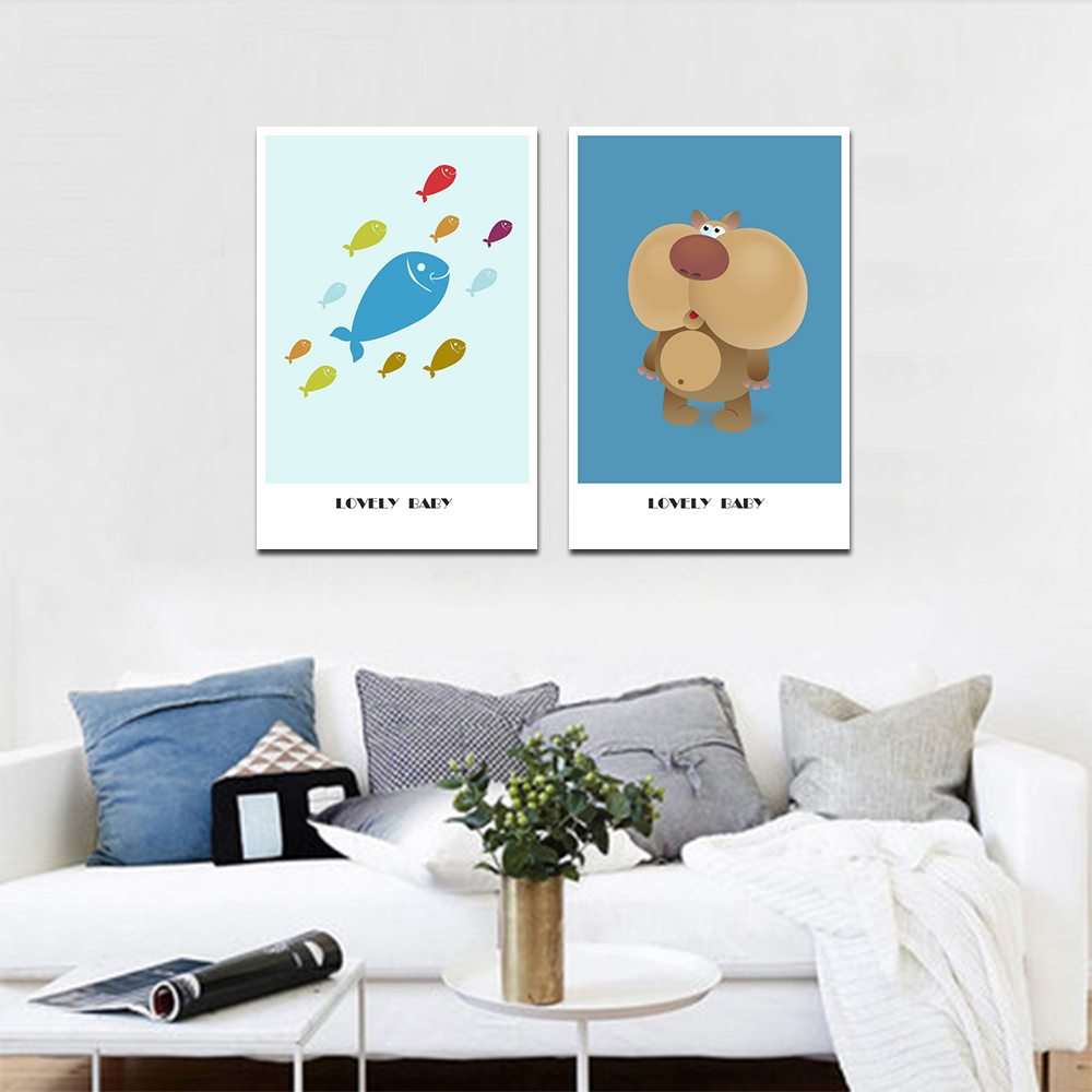 Unframed HD 2 Posters Simple Cartoon Art Painting Bear And Fish Living Room Mural Canvas Painting Free Delivery