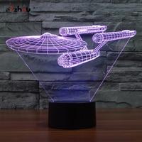 Star Trek Enterprise Lamp Toy 3D Led Table Lamp Flash Toy 7 Color Visual Illusion
