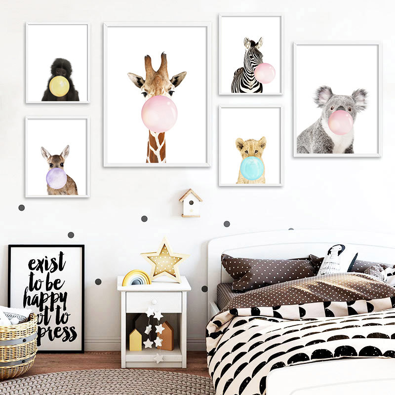 Kids Baby Room Decoration Animals Blowing Bubble Gum Poster Prints Nursery Canvas Painting Lion Elephant Tiger Pictures Decor