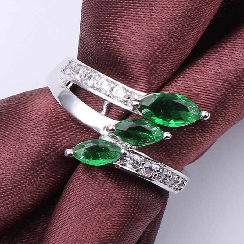 Charm Three Rhombic Zircon Blue/Green Fire Opal Rings For Women Vintage Fashion White Gold Filled Birthstone Ring Trinkets Gifts